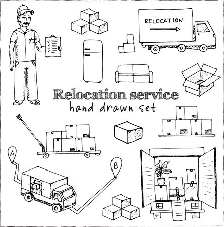 Relocation service isolated hand drawn doodles Vector Ilustracja