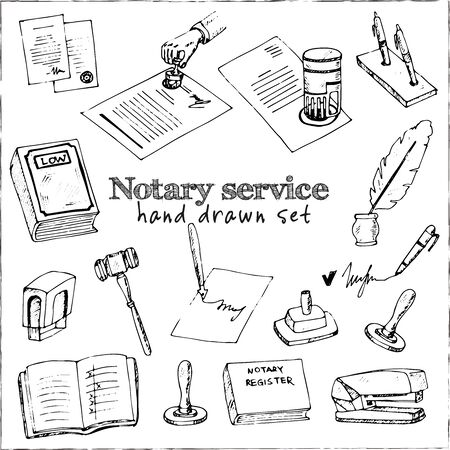 Notary service isolated hand drawn doodles Vector