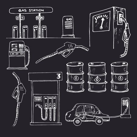 Gas station isolated hand drawn doodles Vector set Çizim
