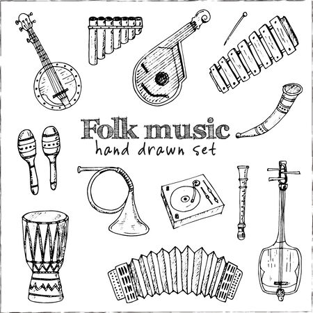 Folk music isolated hand drawn doodles Vector set