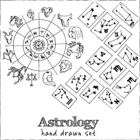 Astrology isolated hand drawn doodles Vector