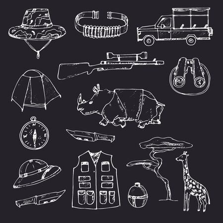 Safari set isolated hand drawn doodles Vector