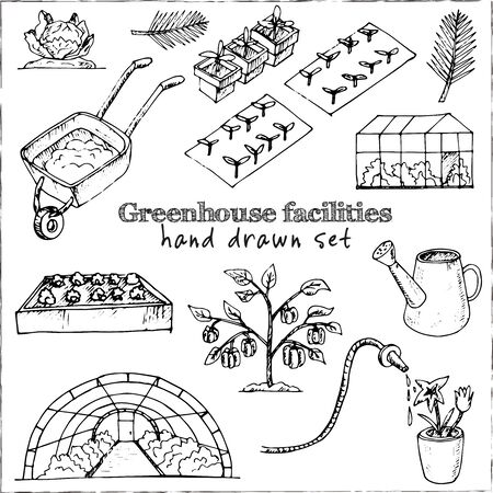 Greenhouse facilities isolated hand drawn doodles Vector