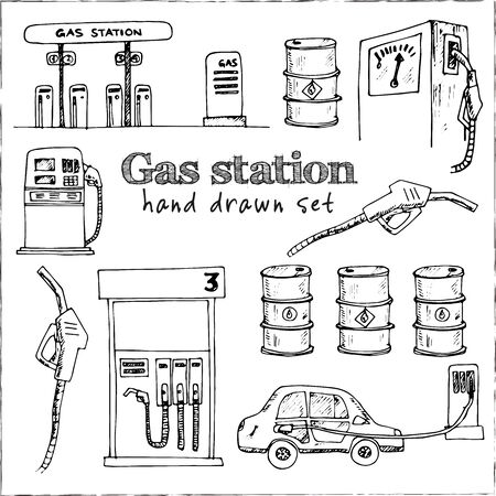 Gas station isolated hand drawn doodles Vector set 일러스트