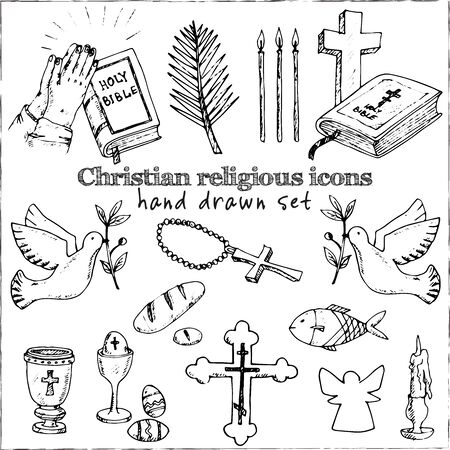 Christianity traditional religious symbols isolated hand drawn doodles Vector