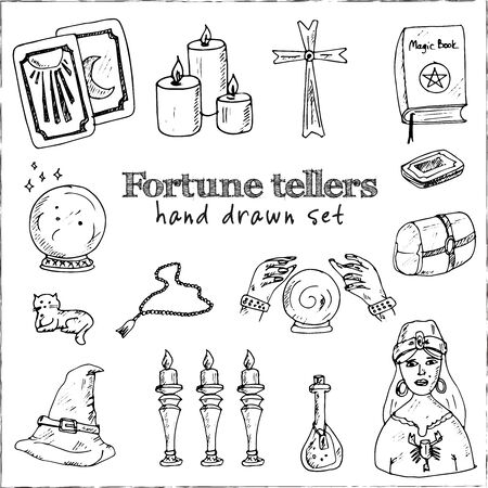 Fortune tellers isolated hand drawn doodles Vector