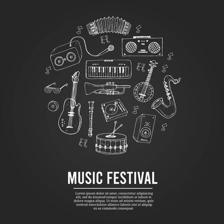 Music festival isolated hand drawn doodles Vector