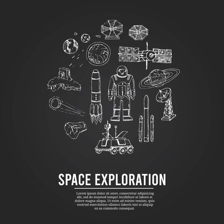 Space exploration isolated hand drawn doodles Vector set 일러스트