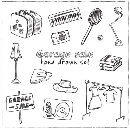Garage hand drawn doodle set. Vector illustration. Isolated elements on white background. Symbol collection. Vettoriali