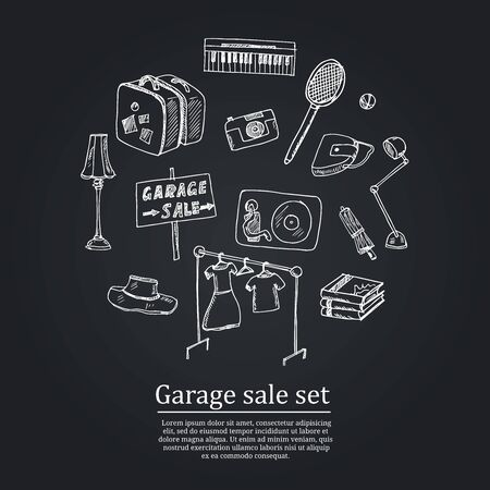 Garage hand drawn doodle set. Vector illustration. Isolated elements on white background. Symbol collection.