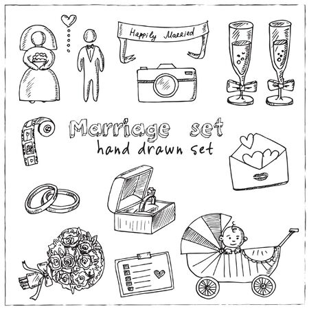 Marriage hand drawn doodle set. Vector illustration. Isolated elements on white background. Symbol collection. Иллюстрация