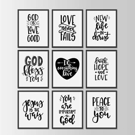 Christian quotes hand drawn typography poster set or cards. Conceptual handwritten phrases. Vector illustration