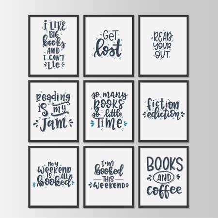 Books and reading lettering set Hand drawn typography poster.