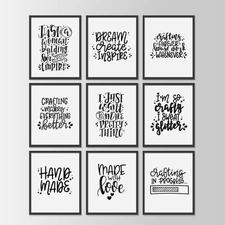Craft motivational quote Hand drawn typography poster set. Ilustração