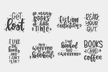 Books and reading lettering set Hand drawn typography poster. Conceptual handwritten phrase T shirt hand lettered calligraphic design. Inspirational vector Çizim