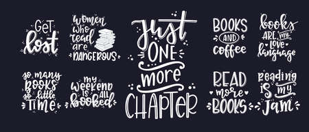 Books and reading lettering set Hand drawn typography poster. Conceptual handwritten phrase T shirt hand lettered calligraphic design. Inspirational vector Ilustracja