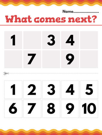 What number comes next Math Preschool or kindergarten worksheet. Vector illustration