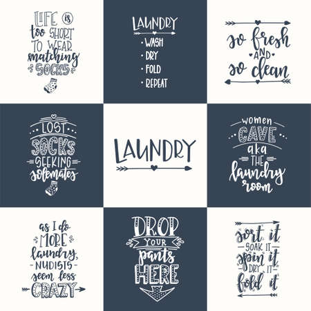 Laundry Hand drawn typography poster. Conceptual handwritten phrase Laundry T shirt hand lettered calligraphic design. Inspirational vector. Vector illustration Reklamní fotografie