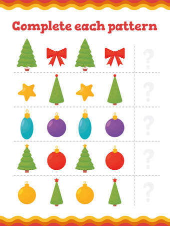 Toddler education games. Preschool or kindergarten Christmas worksheet. Vector illustration. Vector illustration Ilustrace