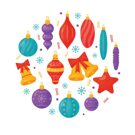 Isolated Christmas tree decorations on white background. Vector illustration
