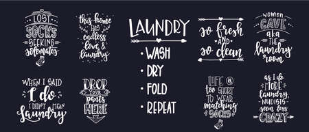 Laundry Hand drawn typography poster. Conceptual handwritten phrase Laundry T shirt hand lettered calligraphic design. Inspirational vector. Vector illustration Ilustrace