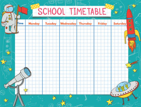 Template school timetable for students or pupils. Vector Illustration includes many hand drawn elements of school supplies and chalkboard background theme.