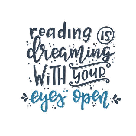 Books and reading lettering set Hand drawn typography poster. Conceptual handwritten phrase T shirt hand lettered calligraphic design. Inspirational vector Vektorgrafik