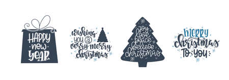 Christmas Vector lettering, motivational quote. Vector illustration