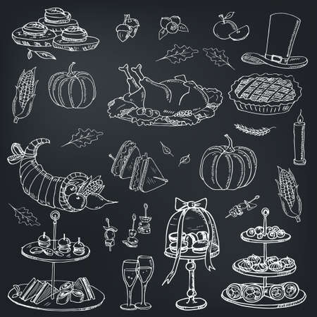 Thanksgiving day menu doodle icons Vector illustration on chalkboard. Vector illustration