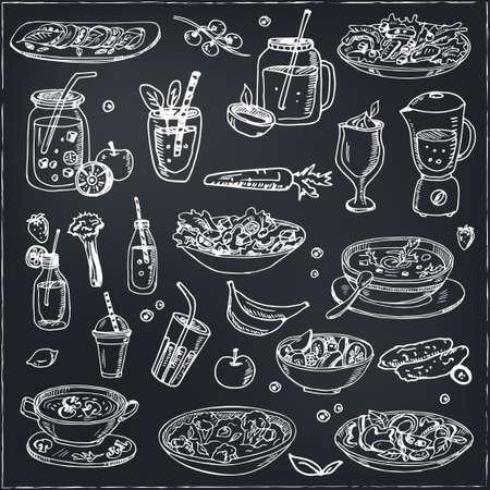 Fitness menu doodle icons Vector illustration on chalkboard. Vector illustration