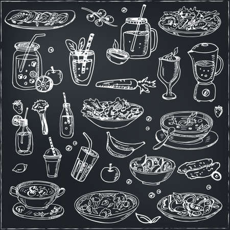 Fitness menu doodle icons Vector illustration on chalkboard. Vector illustration Ilustrace