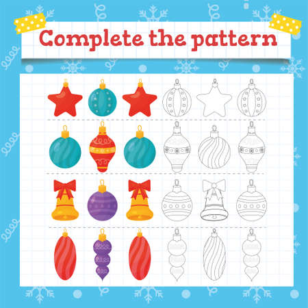 Color Toddler education games with christmas tree decoration. Preschool or kindergarten Christmas worksheet. Vector illustration. Vector illustrationColor Toddler education games with christmas tree decoration. Preschool or kindergarten Christmas worksheet. Vector illustration