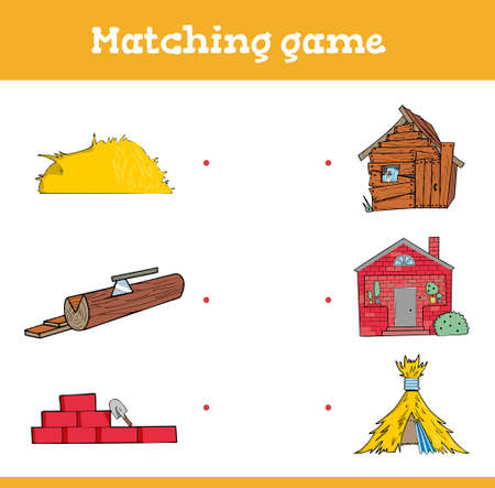 Education games with three little pigs. Preschool or kindergarten worksheet. Vector illustration. Vector illustration
