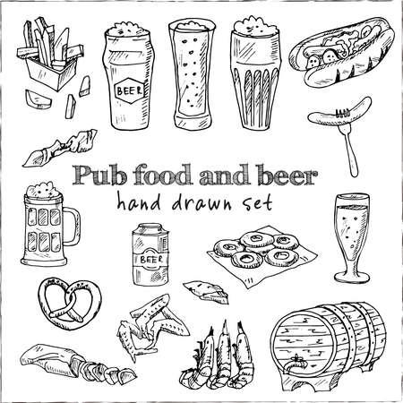 Pub food and beer Menu doodle icons on chalkboard. Vector illustration