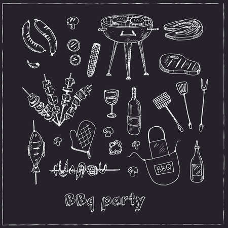 Bbq party set Menu doodle icons on chalkboard. Vector illustration Vettoriali