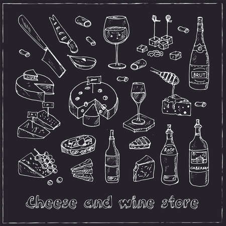 Cheese and wine store set with food and drink hand drawn doodles. Vector illustration
