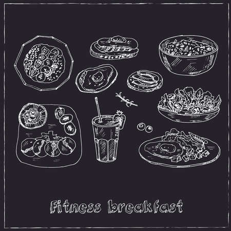Fitness breakfast set with food and drink hand drawn doodles. Vector illustration Ilustracja