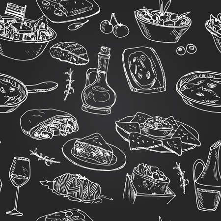 Greece cuisine seamless pattern with food and drink hand drawn doodles. Vector illustration