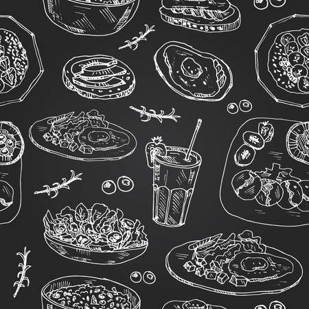 Fitness breakfast seamless pattern with food and drink hand drawn doodles. Vector illustration Ilustração