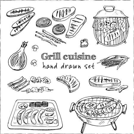 Grill cuisine Menu doodle icons on chalkboard. Vector illustration