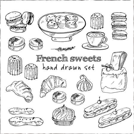 French sweets set with food and drink hand drawn doodles. Vector illustration Ilustração