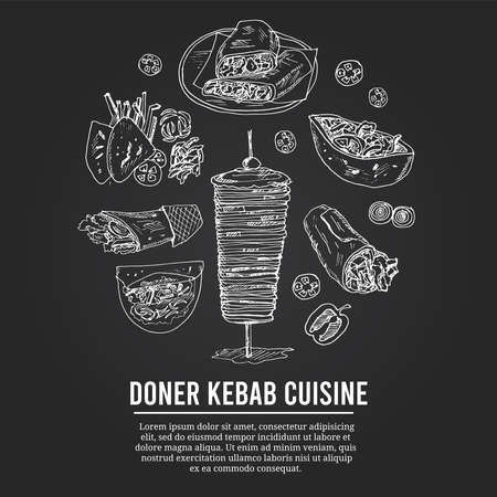 Donner kebeb cuisine Menu doodle icons on chalkboard. Vector illustration