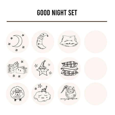 Doodle set of images about good night illustration. Vector illustration