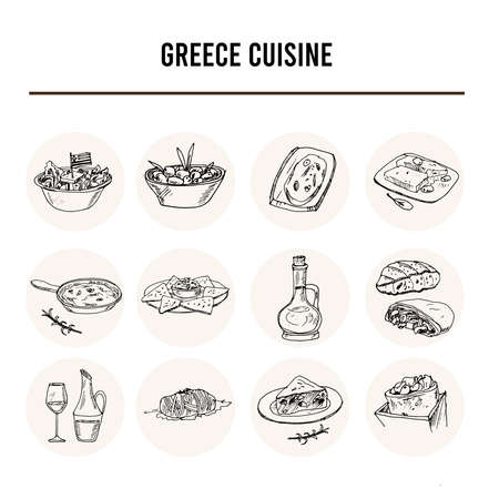 Greece cuisine set with food and drink hand drawn doodles. Vector illustration Иллюстрация