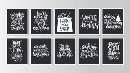 Set with Merry Christmas and Happy New Year vintage gift tags and cards with calligraphy. Handwritten lettering. Hand drawn design elements. Printable items . Vector illustration Illustration