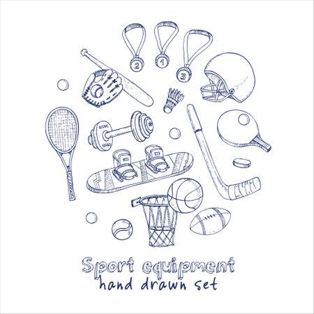Sport doodles elements background. Vector illustration. Illustration