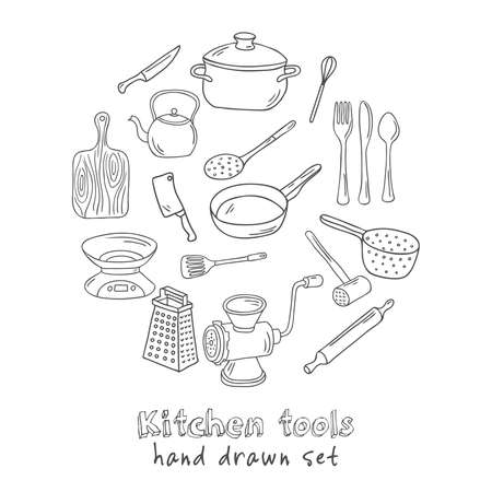 Collection of vector hand drawn kitchen tools. Vector illustration Illustration
