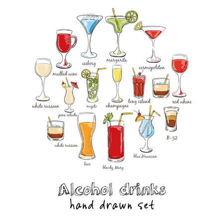 Alcohol drinks. Hand drawn illustration of cocktail, including recipes and ingredients. Vector illustration Ilustracja