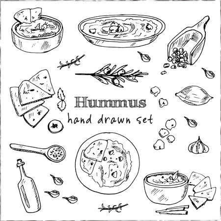 Hummus set with food and drink hand drawn doodles. Vector illustration