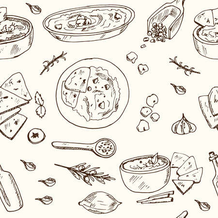Hummus Vector seamless pattern with food and drink hand drawn doodles. Vector illustration